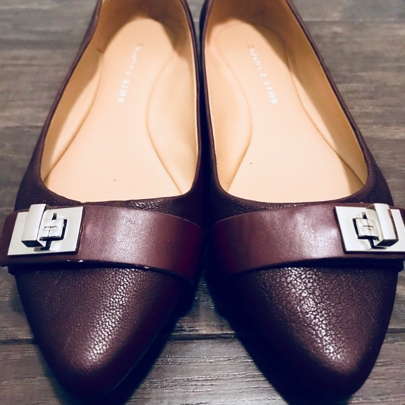 Charles and Keith Shoes - Burgundy Leather Flats